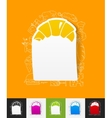 croissant paper sticker with hand drawn elements vector image