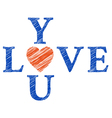 Love you with hand drawn letters vector image