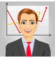 Young business man with rising arrow vector image