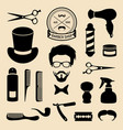 set of barbershop icons with hipster face vector image