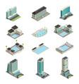 luxury hotel buildings isometric icons vector image