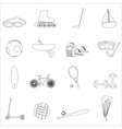 summer sports and equipment outline icon set eps10 vector image