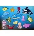 Cartoon funny sea animals characters vector image vector image