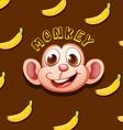 Monkey face and bananas vector image vector image