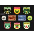 Kids adventure summer camp emblem or badge vector image