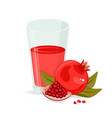 red fruit juice glass grape pomegranate vector image