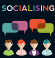 Social media speech bubbles with group of people vector image