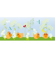 chicks in the grass vector image vector image