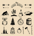 camping sketched elements outdoor vector image