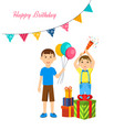boys celebrate together with presents and poppers vector image