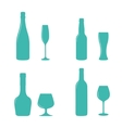 Alcohol bottles and glasses vector image