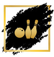 bowling sign golden icon at vector image