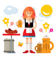 german woman with beer flat style colorful vector image