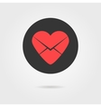 red heart in black circle like love letter icon vector image