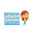 store fridge with dairy products young woman vector image