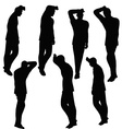 man silhouette in anxious pose vector image