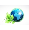 Natural blue World with green leaves and water vector image vector image
