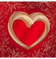 Valentines background abstract golden heart on red vector image vector image
