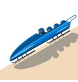 People moving down on bobsled on high speed vector image