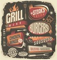 Retro grill menu design template vector image vector image