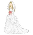 bride with a wedding bouquet vector image