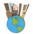 Business Man Walking Around Globe vector image
