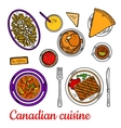 Canadian cuisine dinner with desserts and drinks vector image