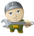 Cartoon mechanic holding a wrench vector image