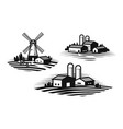 farm farming label set farmhouse windmill vector image