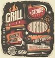 Retro grill menu design template vector image