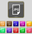 Jpg file icon sign Set with eleven colored buttons vector image