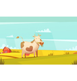 Cow Grazing On Farmland Cartoon Poster vector image
