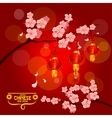 Chinese New Year card with plum blossom lantern vector image