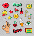 fashion badges set with stars and lips vector image vector image