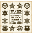 Vintage sheriff marshal and ranger badges set vector image vector image