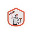 Plumber Wielding Wrench Plunger Cartoon vector image vector image
