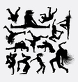 People dance male and female silhouette vector image