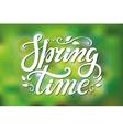 Spring time letteringGreen blurred background vector image