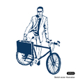 Businessman with his case and bike vector image
