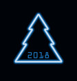 christmas tree neon icon 2018 new year sign vector image