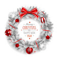 christmas wreath white vector image