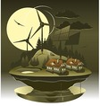 Eco village night vector image