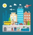 Flat design cityscape underground train station vector image
