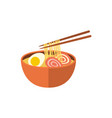 japanese ramen soup and chopsticks flat icon vector image