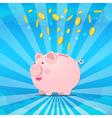 Piggy bank on sunburt and splash coin of money vector image