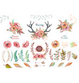 set of elements from leaves and flowers vector image