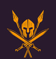 spartans logo emblem with spartan helmet swords vector image