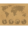 World map and globe set on cardboard texture vector image