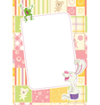 Girls childrens frame with rabbit and frog vector image vector image