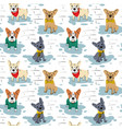 cartoon character french bulldog seamless pattern vector image vector image